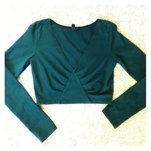 Hunter green LF crop top